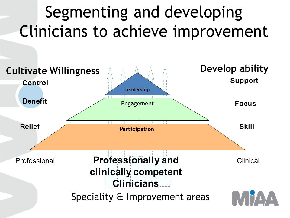 Segmenting and developing Clinicians to achieve improvement