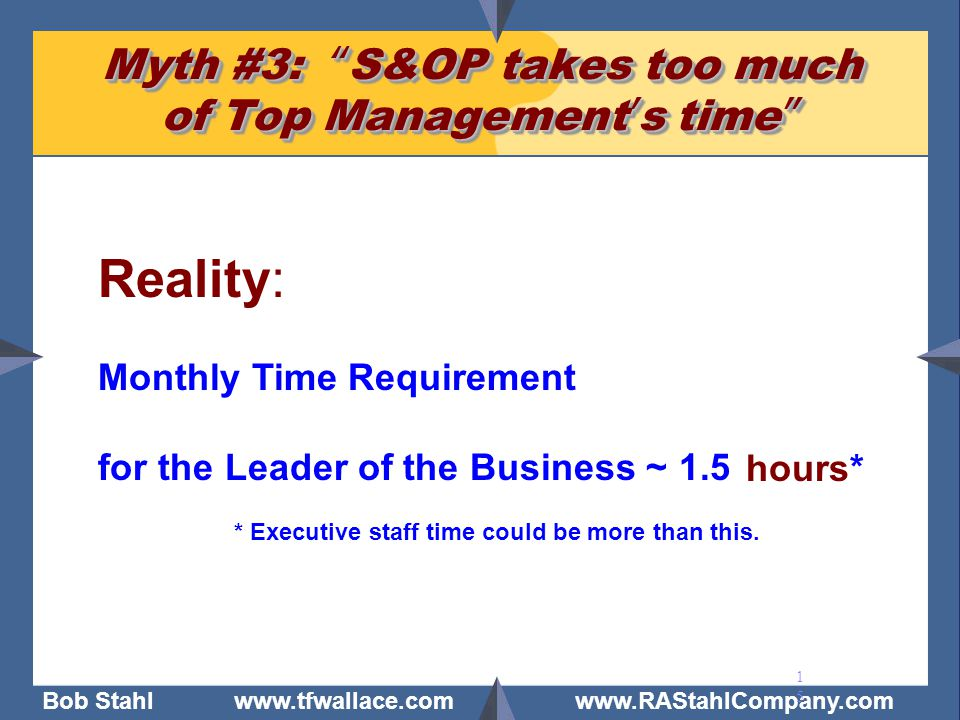 Myth #3: S&OP takes too much of Top Management's time