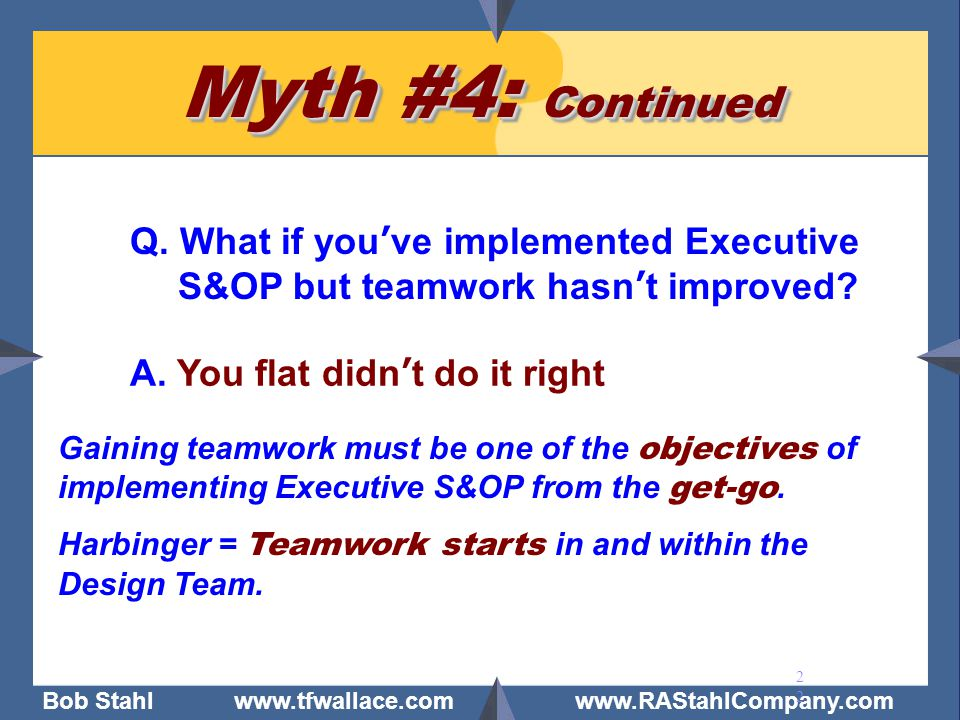 Myth #4: Continued Q. What if you've implemented Executive S&OP but teamwork hasn't improved