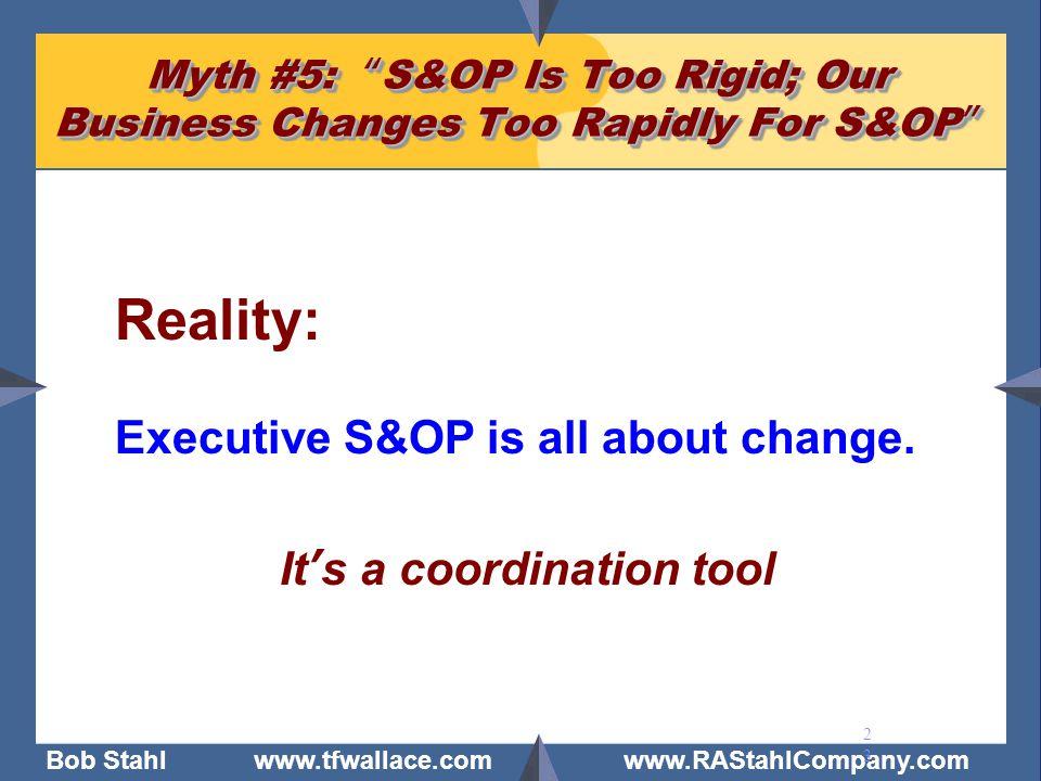 Reality: Executive S&OP is all about change. It's a coordination tool