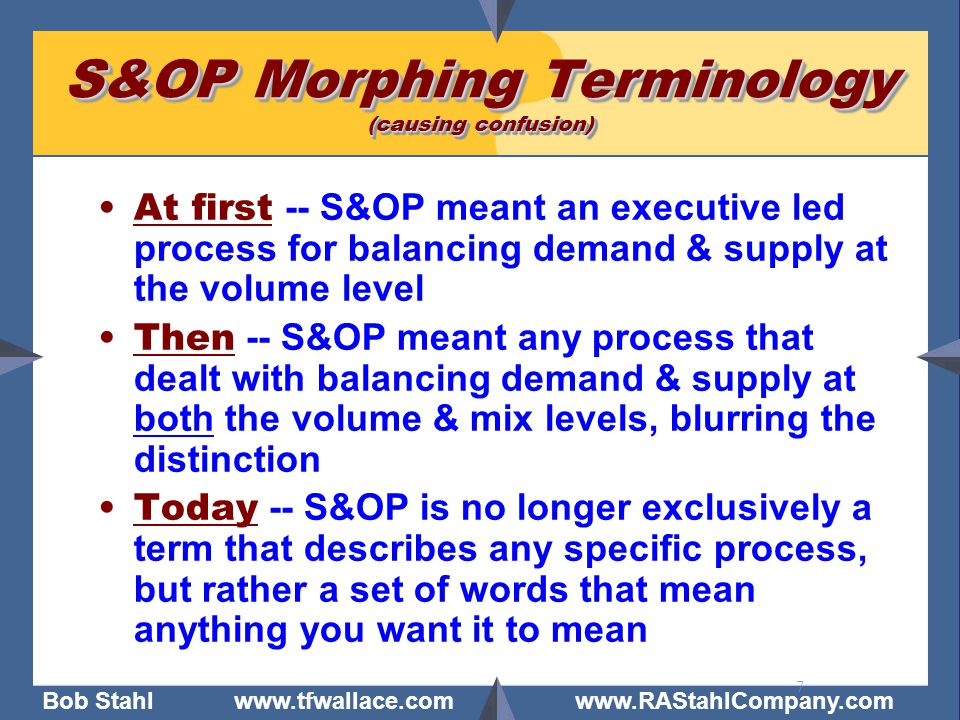 S&OP Morphing Terminology (causing confusion)