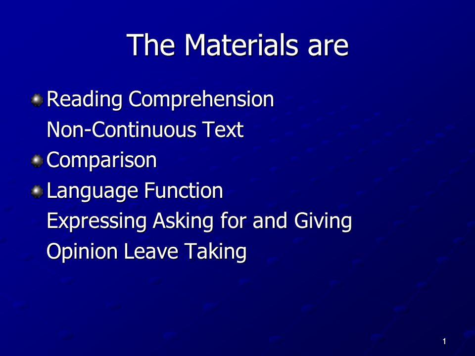 The Materials are Reading Comprehension Non-Continuous Text Comparison