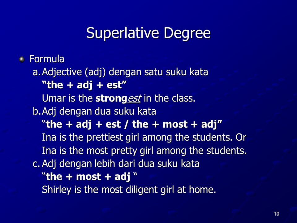 Superlative Degree Formula a. Adjective (adj) dengan satu suku kata