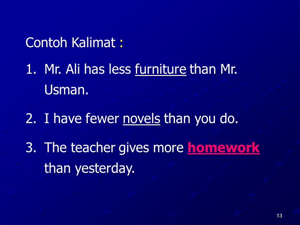 Contoh Kalimat : Mr. Ali has less furniture than Mr.