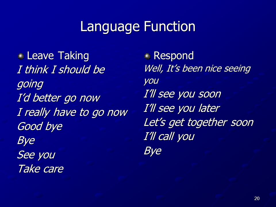 Language Function Leave Taking I think I should be going