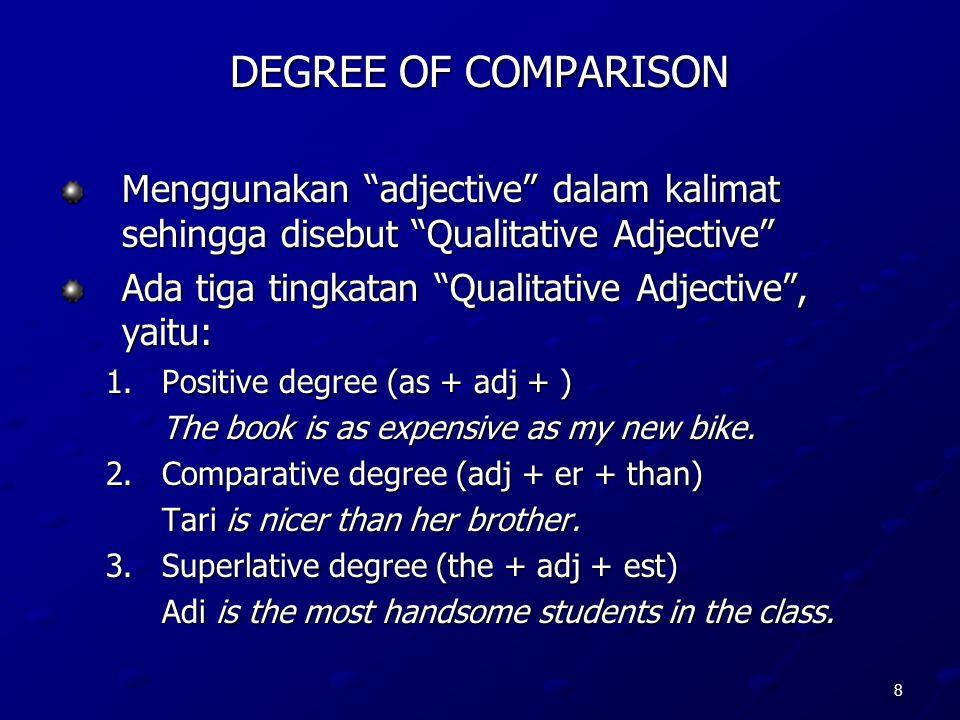 DEGREE OF COMPARISON Menggunakan adjective dalam kalimat sehingga disebut Qualitative Adjective