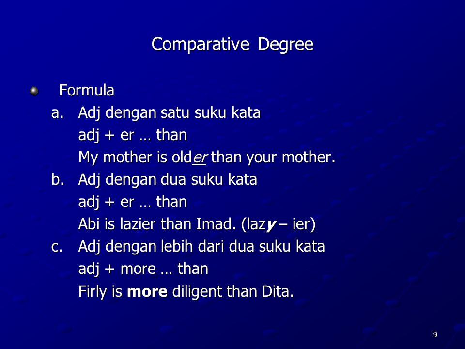 Comparative Degree Formula a. Adj dengan satu suku kata