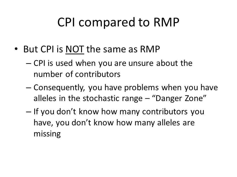 CPI compared to RMP But CPI is NOT the same as RMP