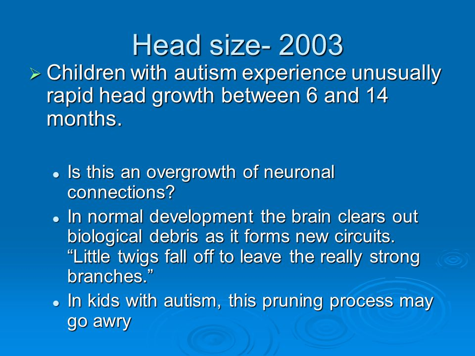 Head size- 2003 Children with autism experience unusually rapid head growth between 6 and 14 months.