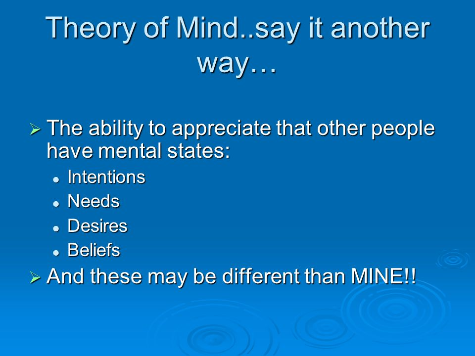 Theory of Mind..say it another way…
