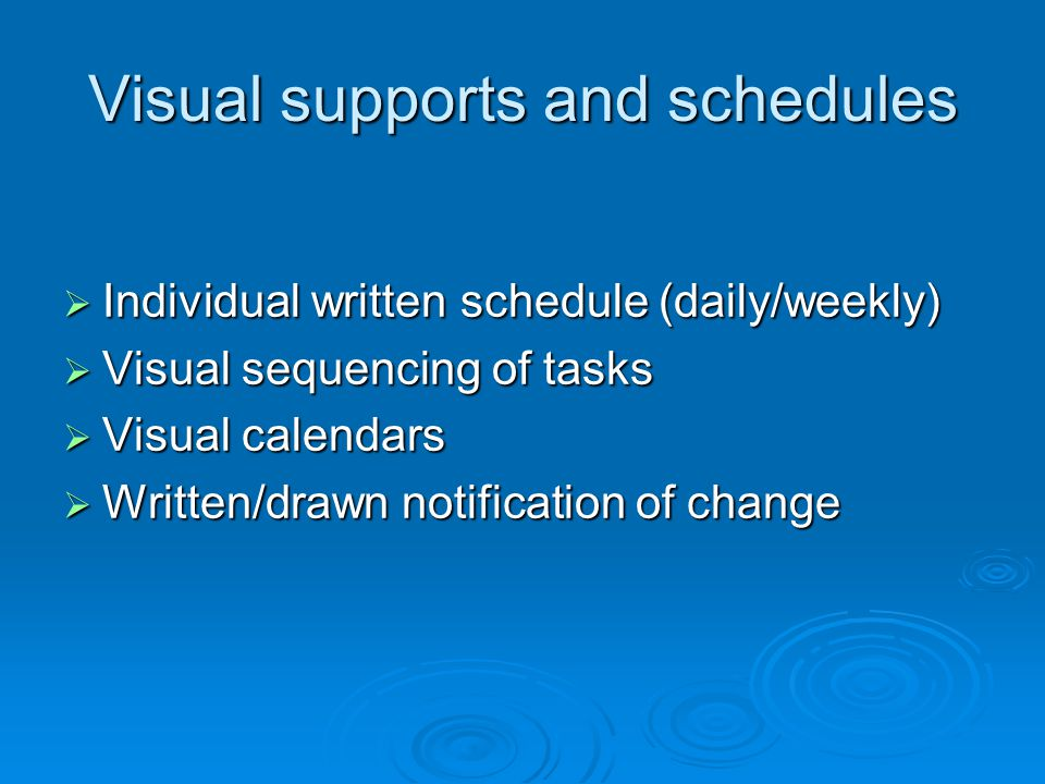 Visual supports and schedules