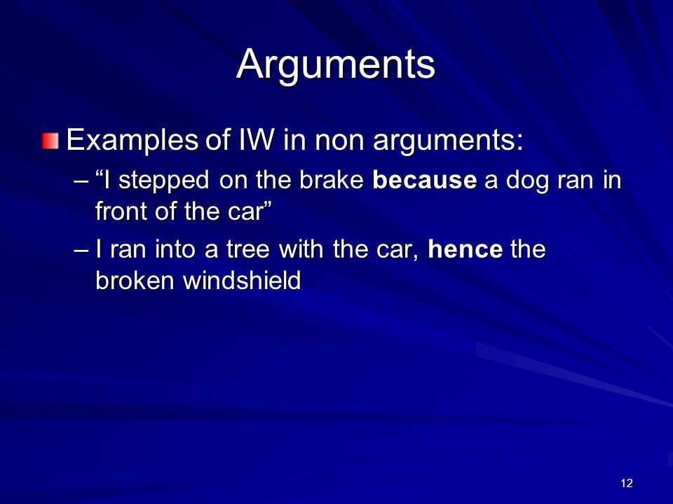 Arguments Examples of IW in non arguments: