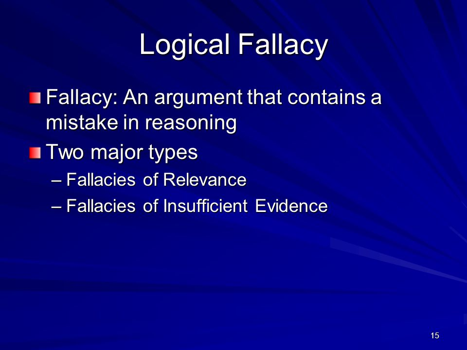 Logical Fallacy Fallacy: An argument that contains a mistake in reasoning. Two major types. Fallacies of Relevance.