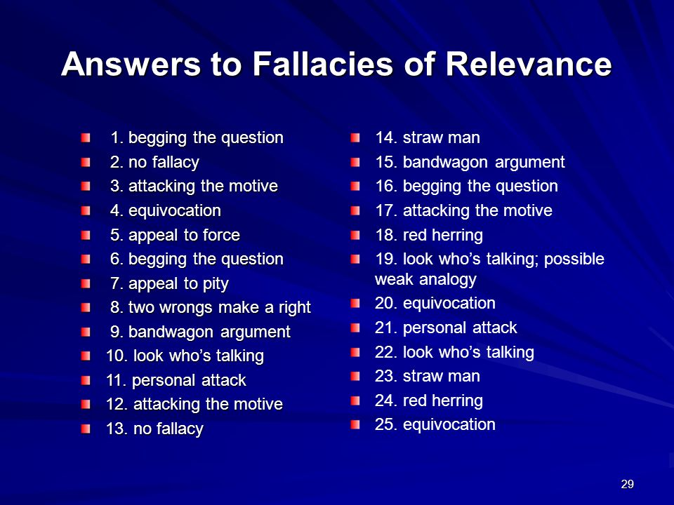 Answers to Fallacies of Relevance