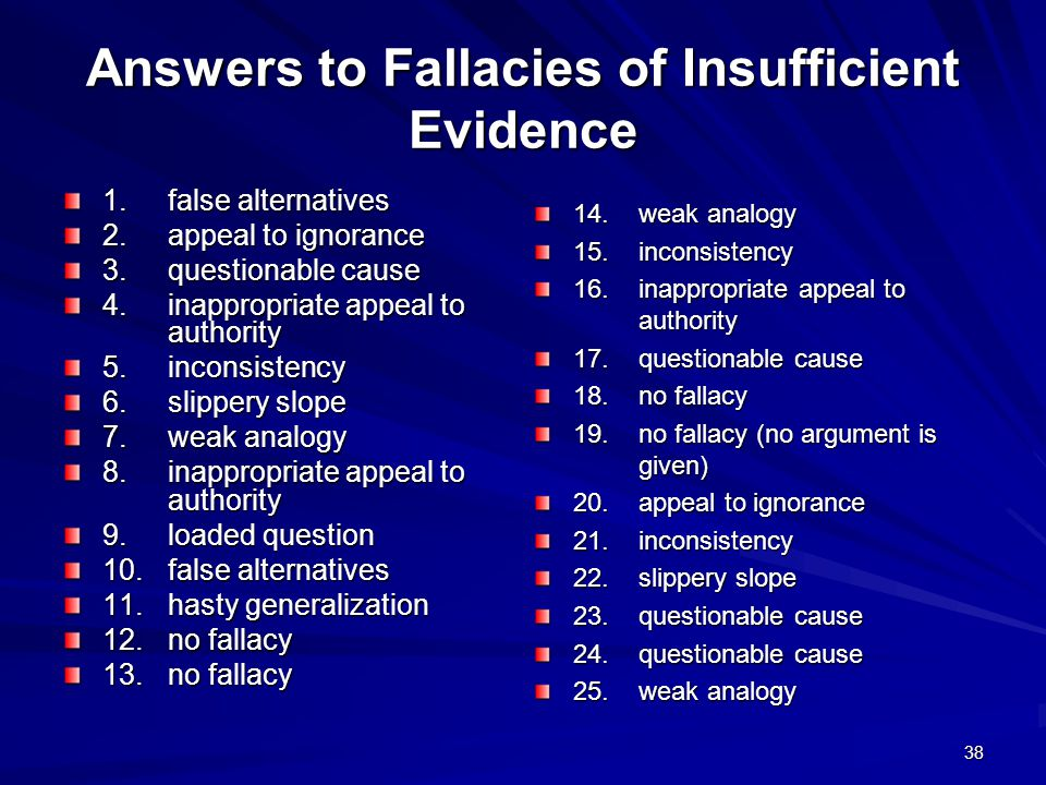 Answers to Fallacies of Insufficient Evidence