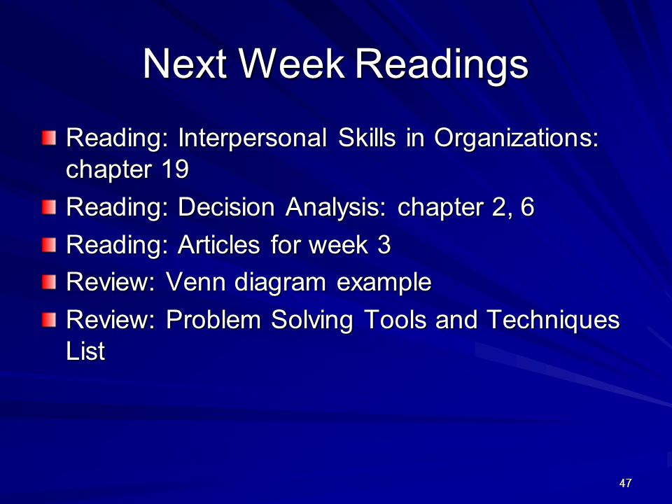 Next Week Readings Reading: Interpersonal Skills in Organizations: chapter 19. Reading: Decision Analysis: chapter 2, 6.