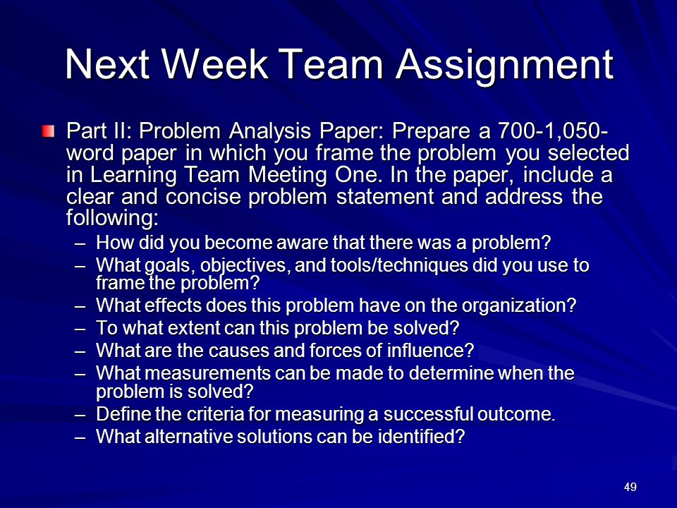 Next Week Team Assignment