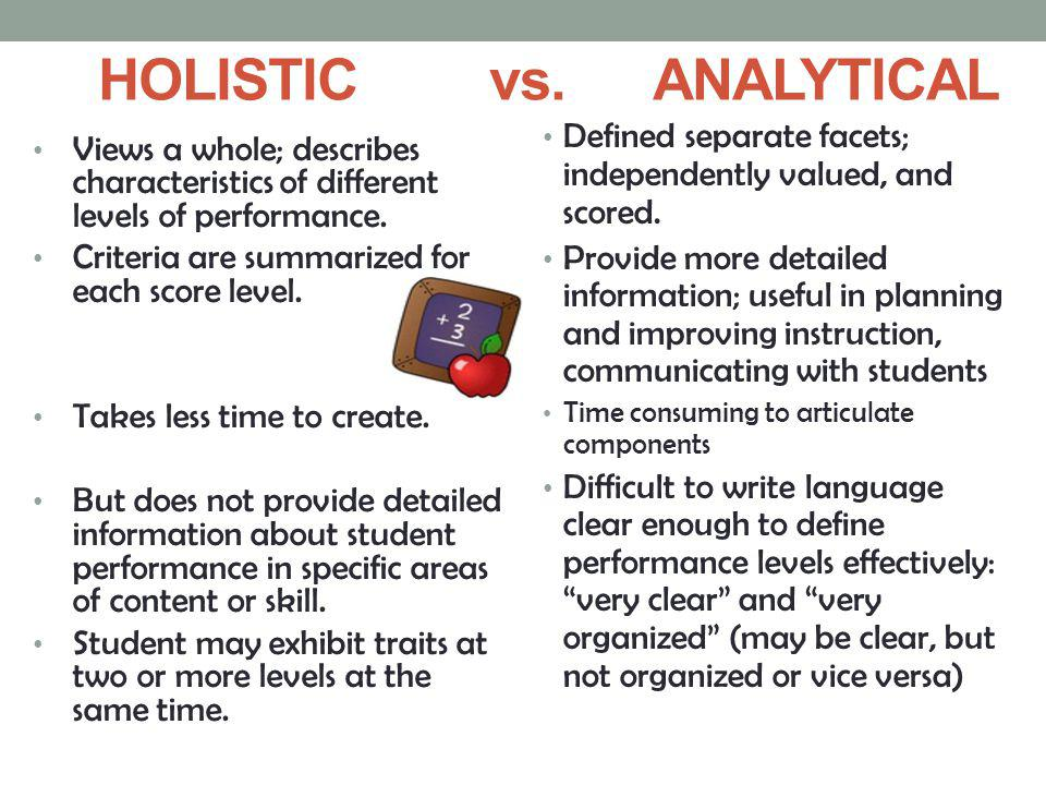 HOLISTIC vs. ANALYTICAL