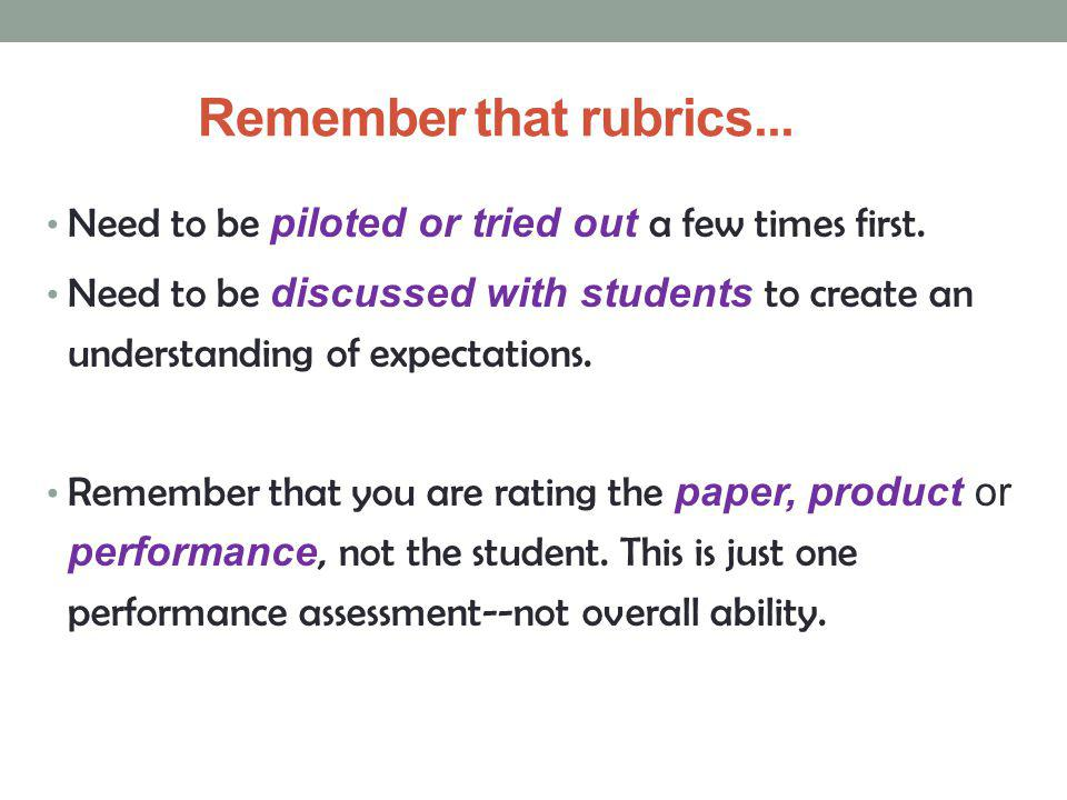 Remember that rubrics... Need to be piloted or tried out a few times first.