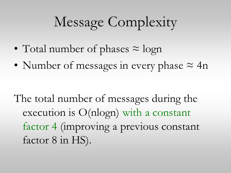 Message Complexity Total number of phases ≈ logn