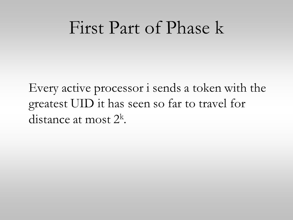 First Part of Phase k Every active processor i sends a token with the greatest UID it has seen so far to travel for distance at most 2k.
