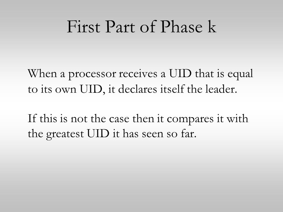 First Part of Phase k When a processor receives a UID that is equal to its own UID, it declares itself the leader.
