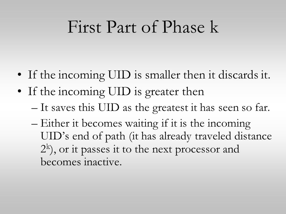 First Part of Phase k If the incoming UID is smaller then it discards it. If the incoming UID is greater then.