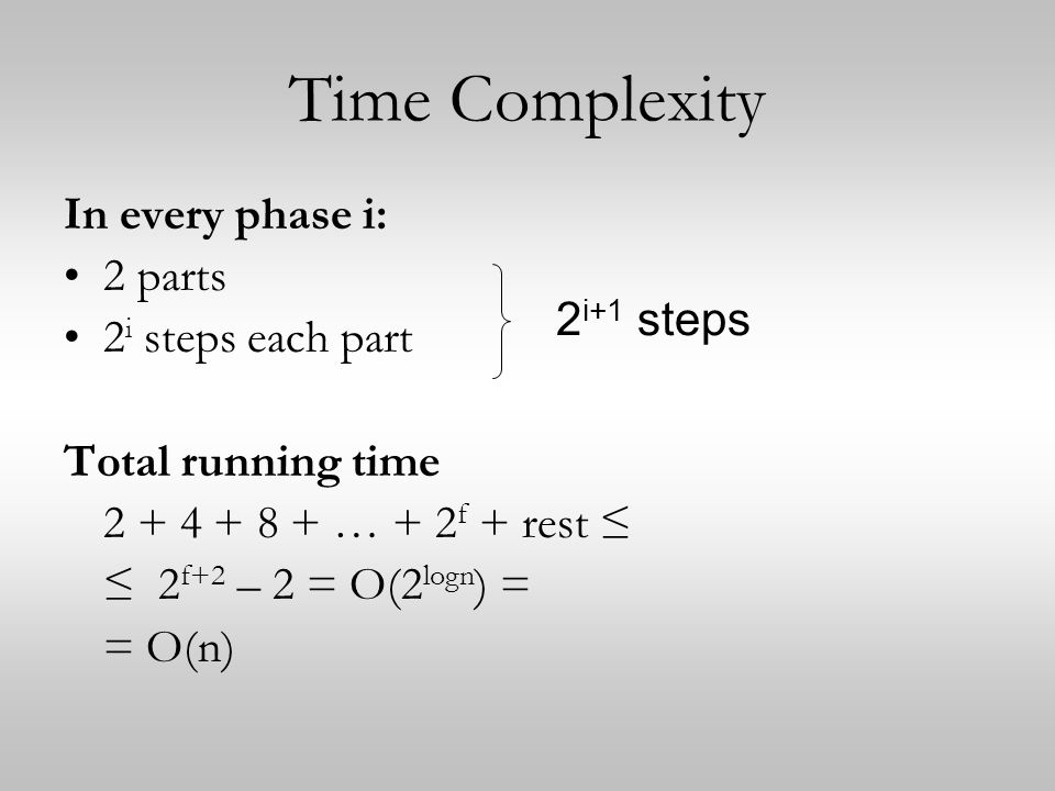 Time Complexity In every phase i: 2 parts 2i steps each part