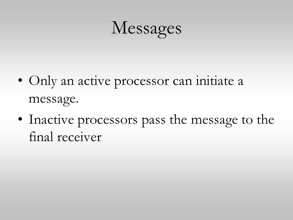 Messages Only an active processor can initiate a message.