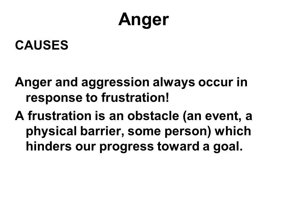 Anger CAUSES. Anger and aggression always occur in response to frustration!