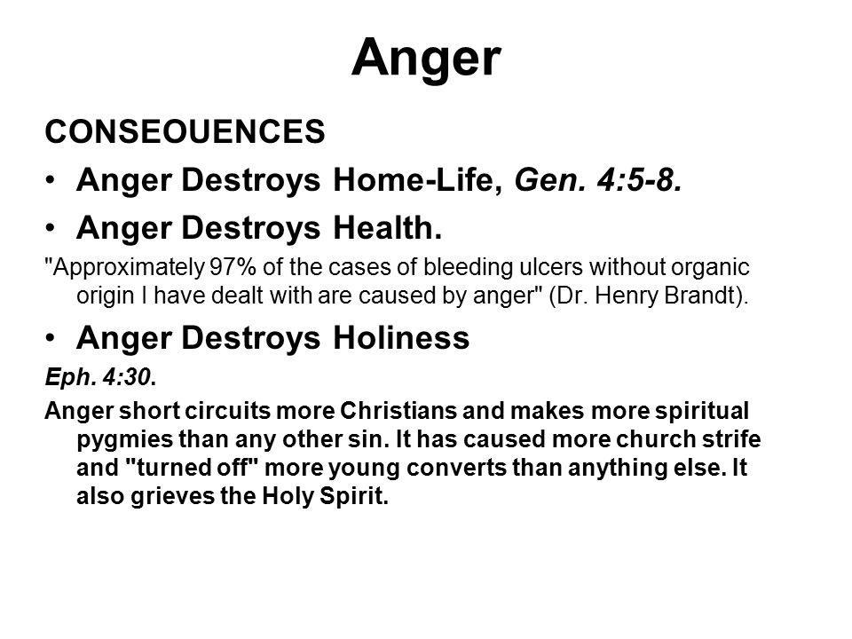 Anger CONSEOUENCES Anger Destroys Home-Life, Gen. 4:5-8.