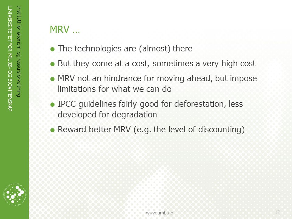 MRV … The technologies are (almost) there