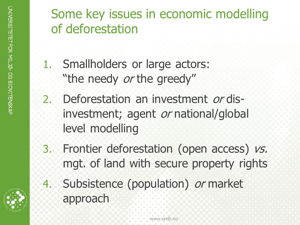 Some key issues in economic modelling of deforestation