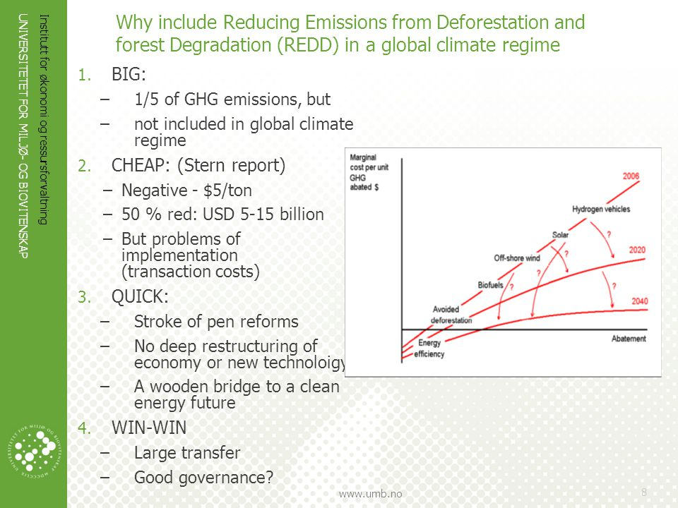 Why include Reducing Emissions from Deforestation and forest Degradation (REDD) in a global climate regime