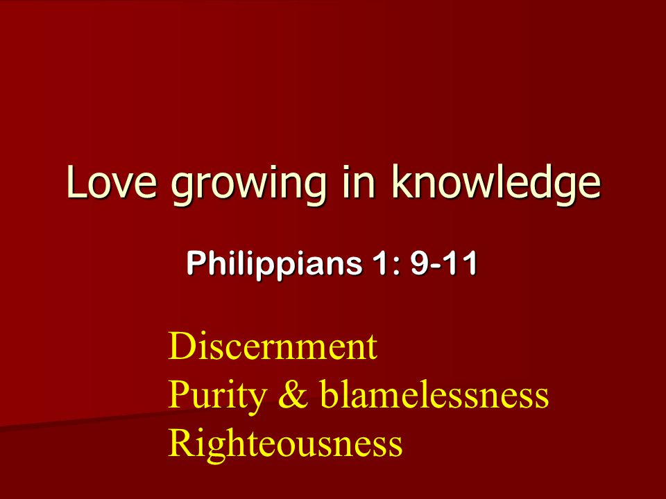 Love growing in knowledge