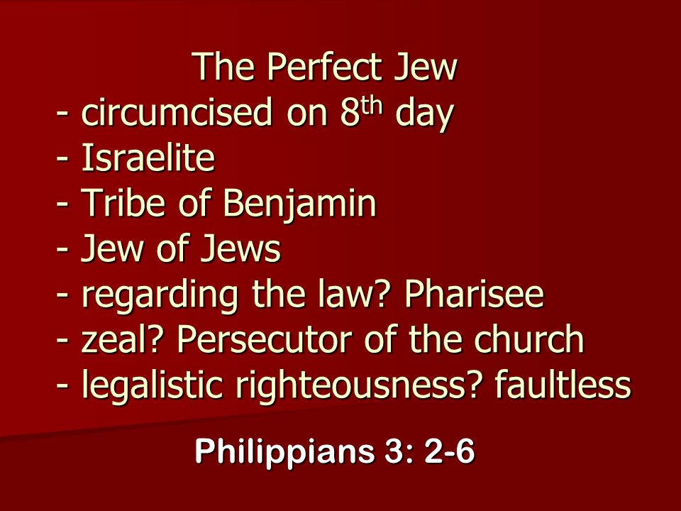 The Perfect Jew - circumcised on 8th day - Israelite - Tribe of Benjamin - Jew of Jews - regarding the law Pharisee - zeal Persecutor of the church - legalistic righteousness faultless