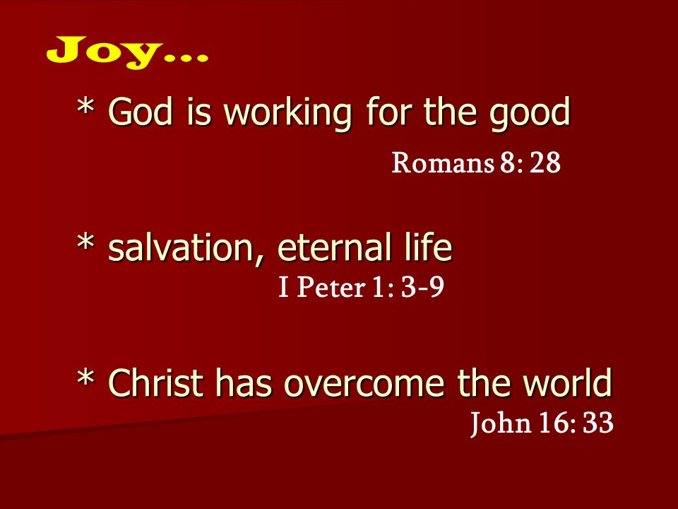 Joy… * God is working for the good * salvation, eternal life * Christ has overcome the world. Romans 8: 28.