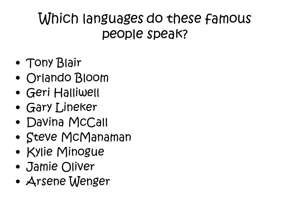 Which languages do these famous people speak