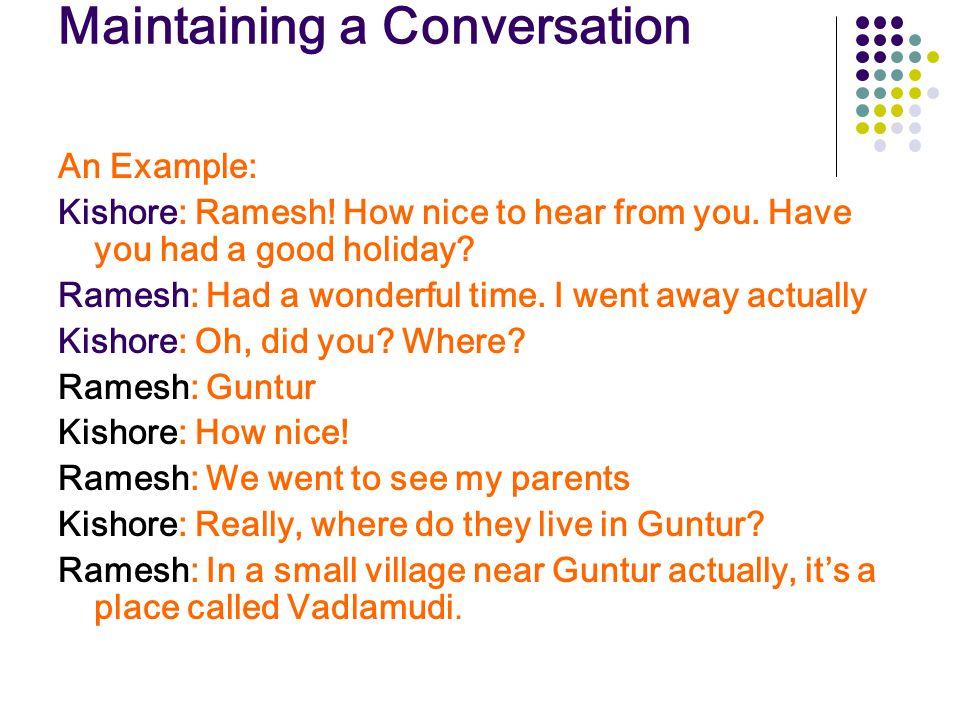 Maintaining a Conversation
