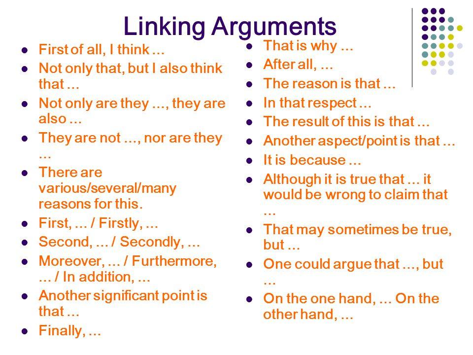 Linking Arguments That is why ... First of all, I think ...
