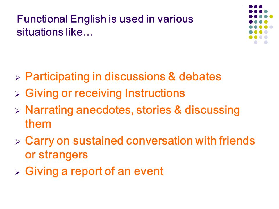 Functional English is used in various situations like…