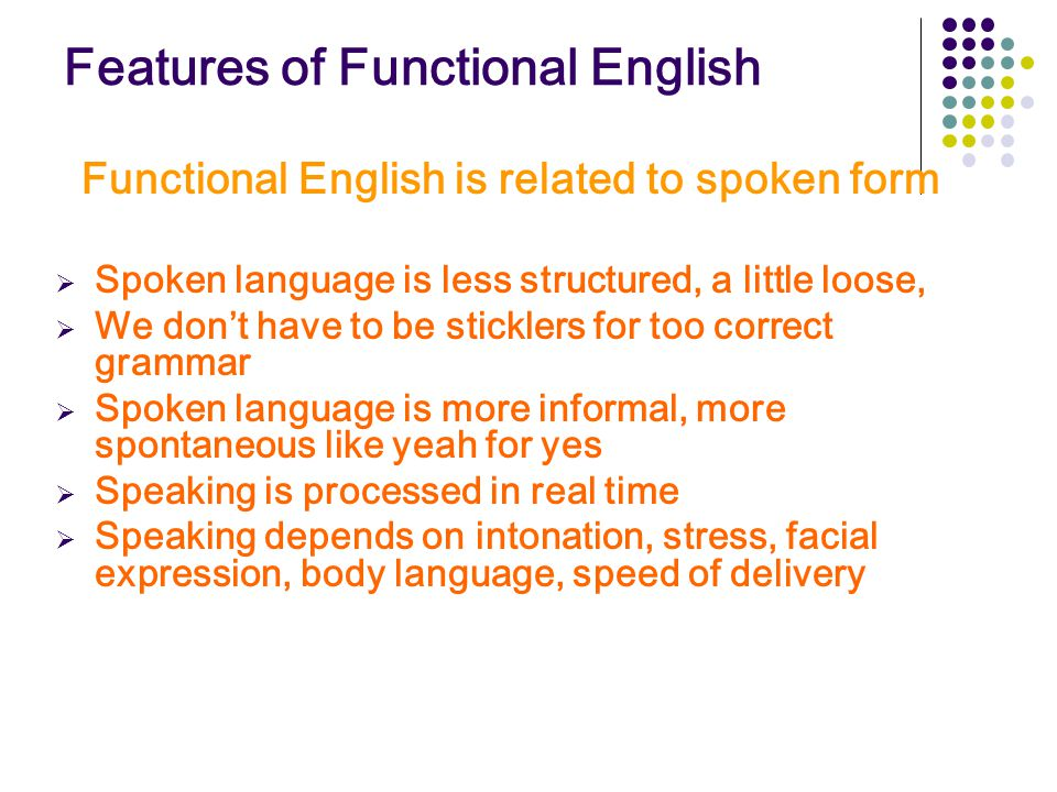 Features of Functional English