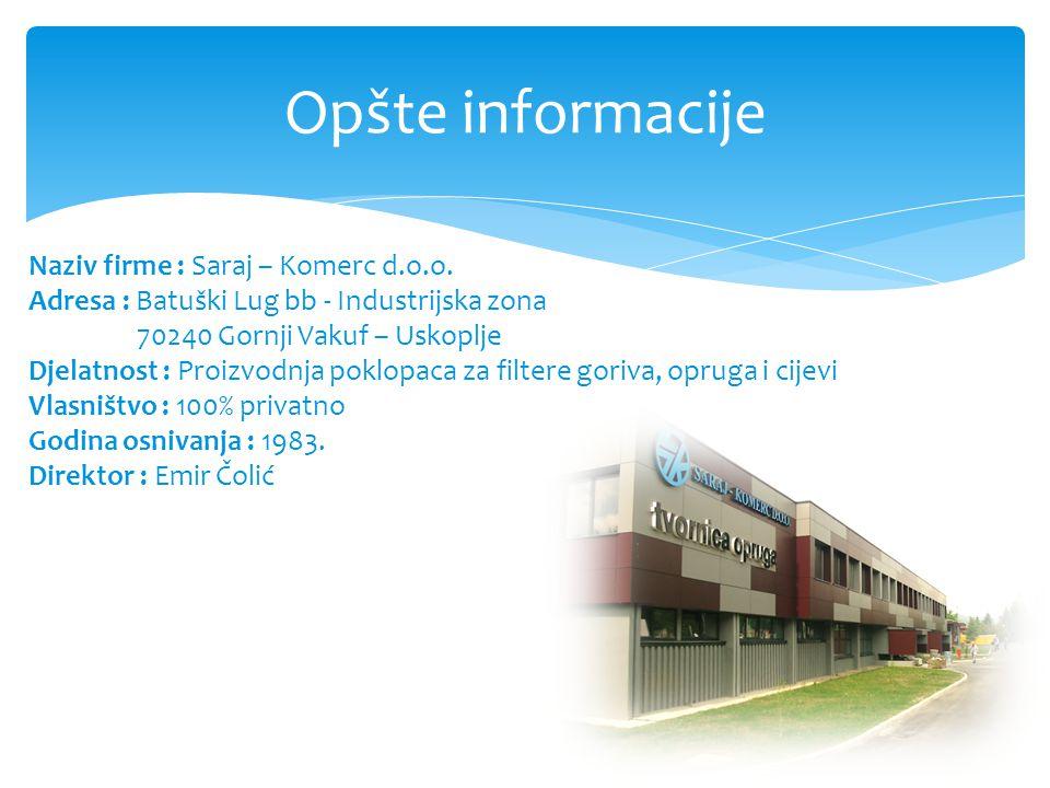 Opšte informacije Naziv firme : Saraj – Komerc d.o.o.