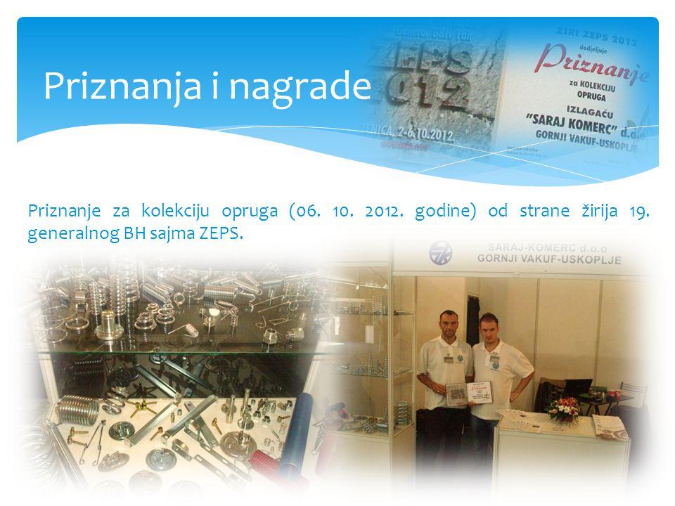 Priznanja i nagrade Priznanje za kolekciju opruga (06.