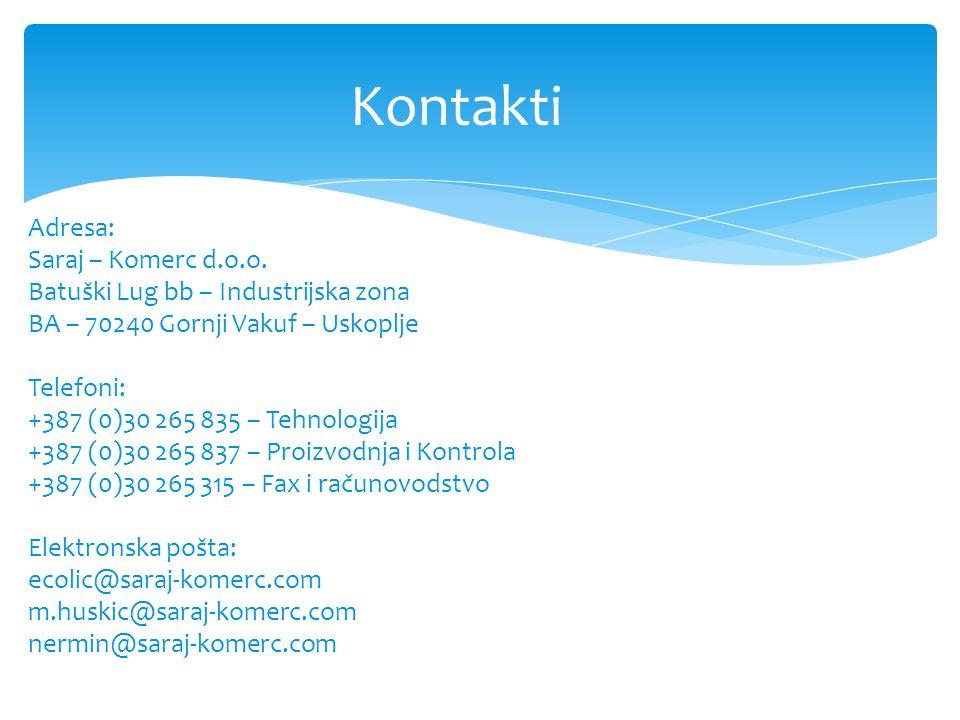 Kontakti Adresa: Saraj – Komerc d.o.o.