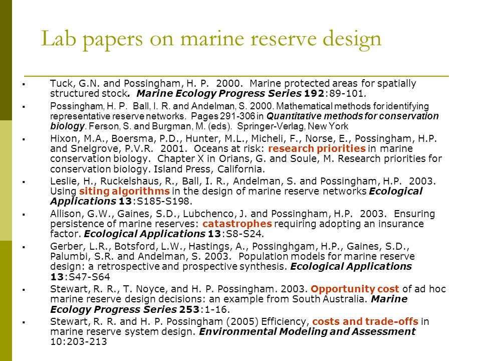 Lab papers on marine reserve design