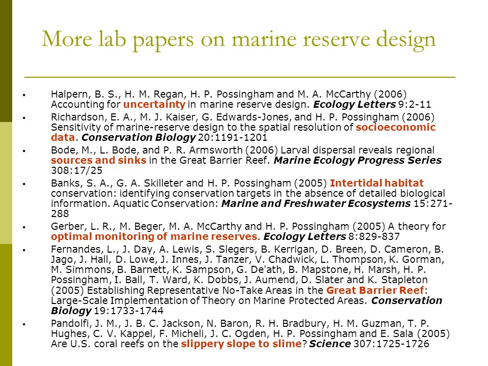 More lab papers on marine reserve design
