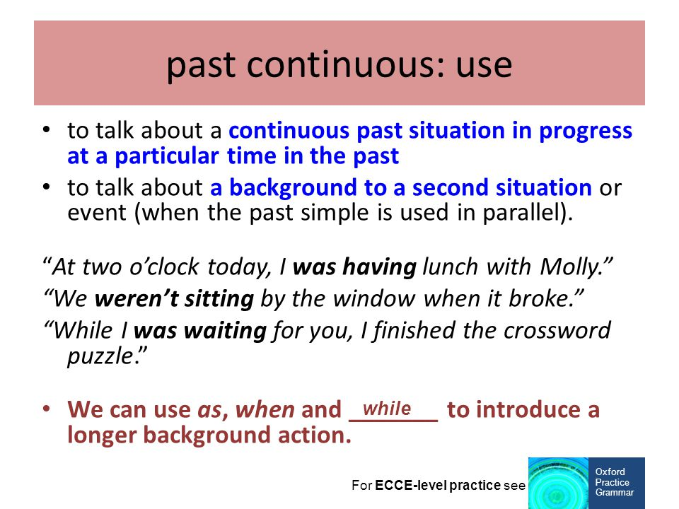 past continuous: use to talk about a continuous past situation in progress at a particular time in the past.