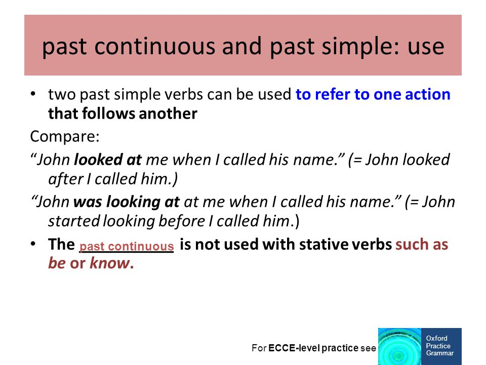 past continuous and past simple: use