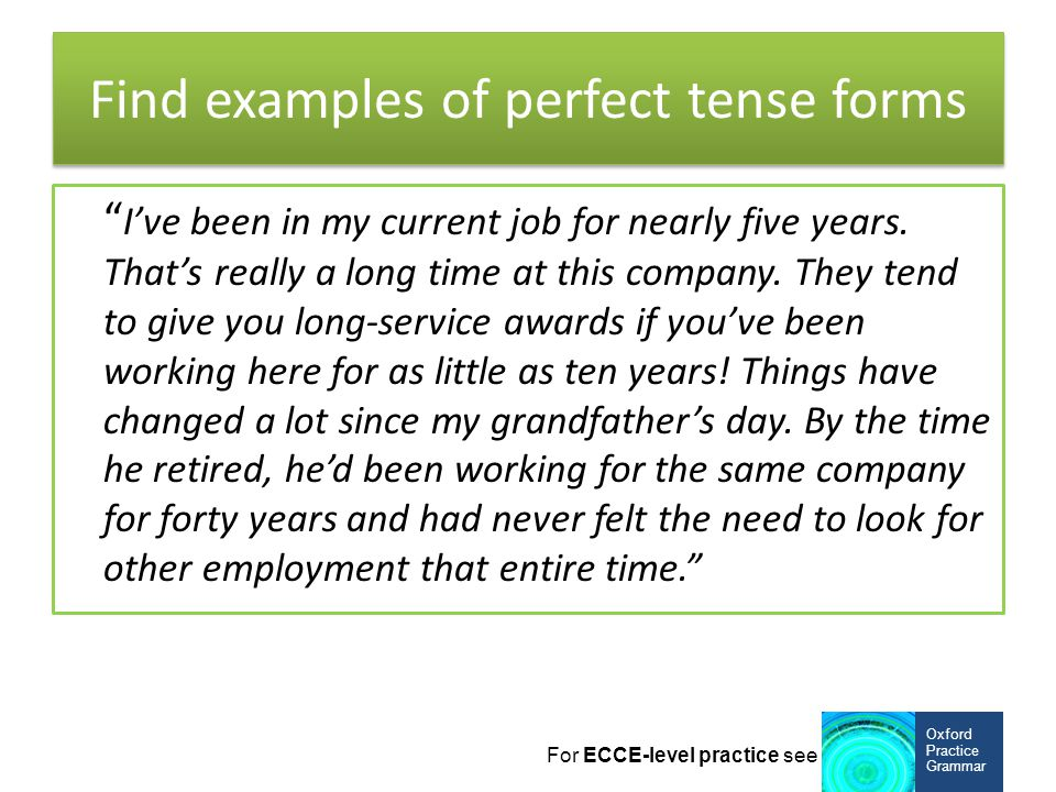 Find examples of perfect tense forms